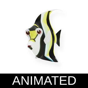 3D model moorish idol fish toon