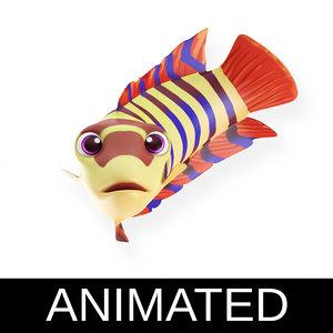 3D ornate climbing perch fish toon