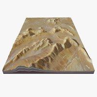 Photorealistic Desert Valley and Mountain Range