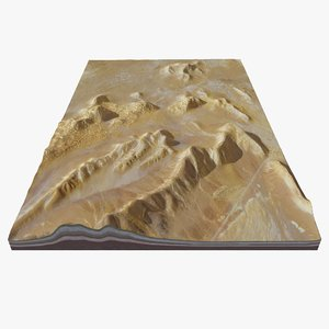photorealistic terrain desert mountain range model