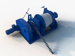 3D anchor-mooring winch