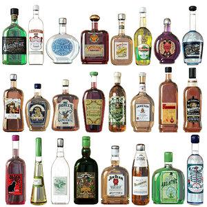 bottles strong alcohol 3D model
