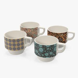 ceramic mug set floral 3D model