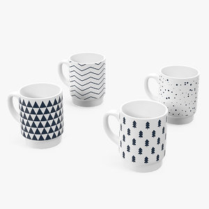 3D model simple pattern mug set
