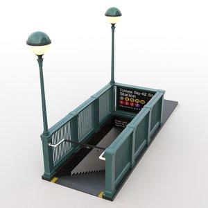 nyc subway entrance 3D