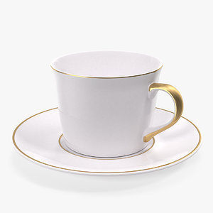 3D white ceramic cup plate model