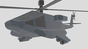 low-poly helicopter 3D