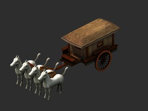 carriage warriors horses 3D model