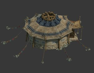 mongolian portable yurt modeled 3D model