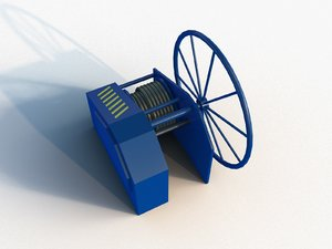 low-poly towing winch 3D model