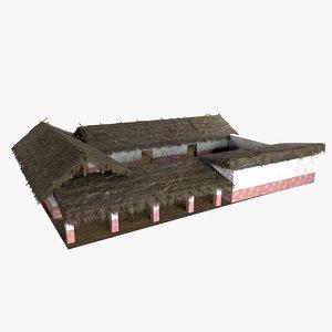 village medieval house hut model