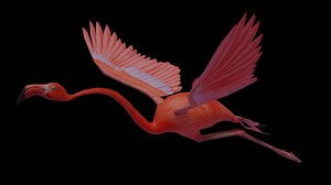 flamingo flying 3D model