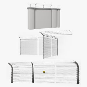 electric barbed wire fences 3D