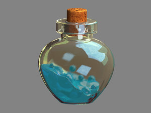 3D model potion bottles jelly low-poly