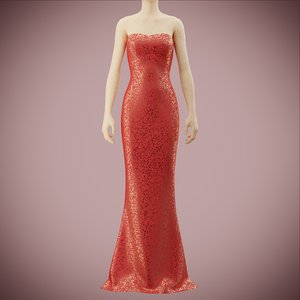 3D sequin silk dress
