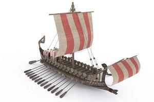 3D ancient ship model