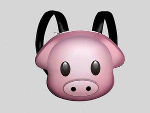 cute piggy backpack 3D
