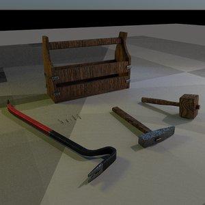 3D wooden toolbox hammer mallet