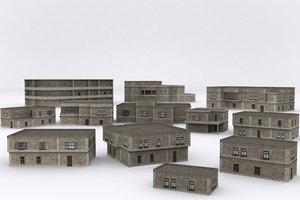 3D old building mega pack
