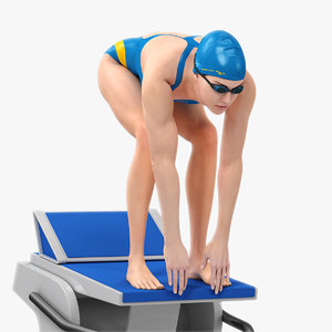 animations female swimmer swimming 3D model