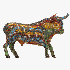 mosaic spanish bull 3D model