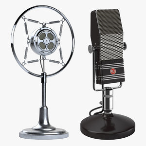 2 retro microphones set 3d obj