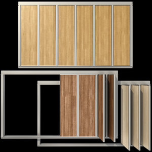 sliding wooden partition wall 3D model