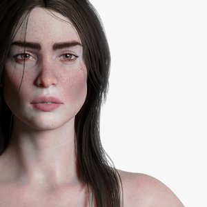realistic female rigged woman model