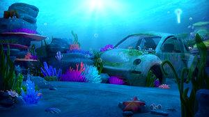 cartoon underwater coral 3D