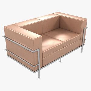 3D model le corbusier sofa lc2