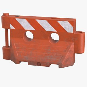 plastic barrier red pbr 3D