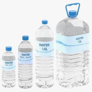 3D 4 water bottle model