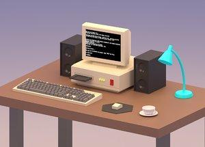 3D cartoon vintage computer
