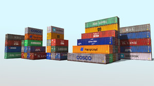 set shipping containers 3D model