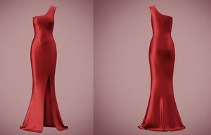 shoulder satin slit dress 3D