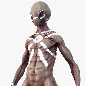 martian alien character pbr 3D model