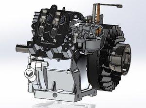 3D single stroke engine piston model