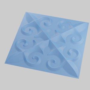 panels kazakh pattern forms 3D model