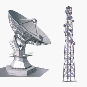 satellite dish cellular tower 3D model
