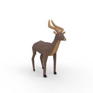 3D antelope animals mammals model