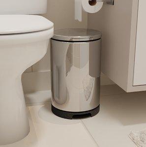 3D chrome trash bathroom model