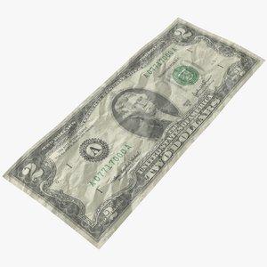 3D dollar bill crumpled model
