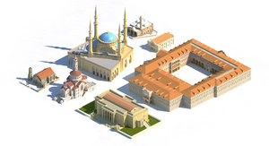 3D monuments beirut church mosque