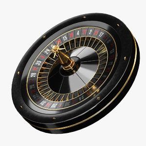 3D black roulette wheel games model