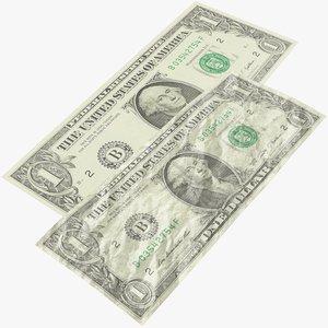 1 dollar bill 3D model