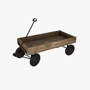 wooden wagon 3D model