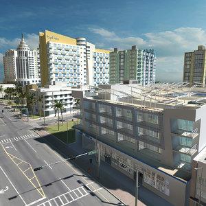 3D miami city street