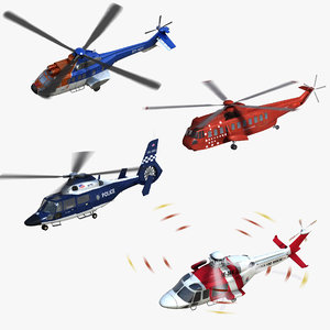 civilian helicopters 3D model