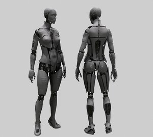 android robot characters 3D model