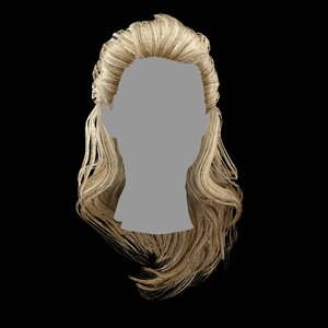 3D model hairstyle layered hair